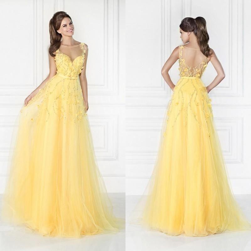 Beautiful Light Yellow Prom Dresses Sheer Crew Beaded