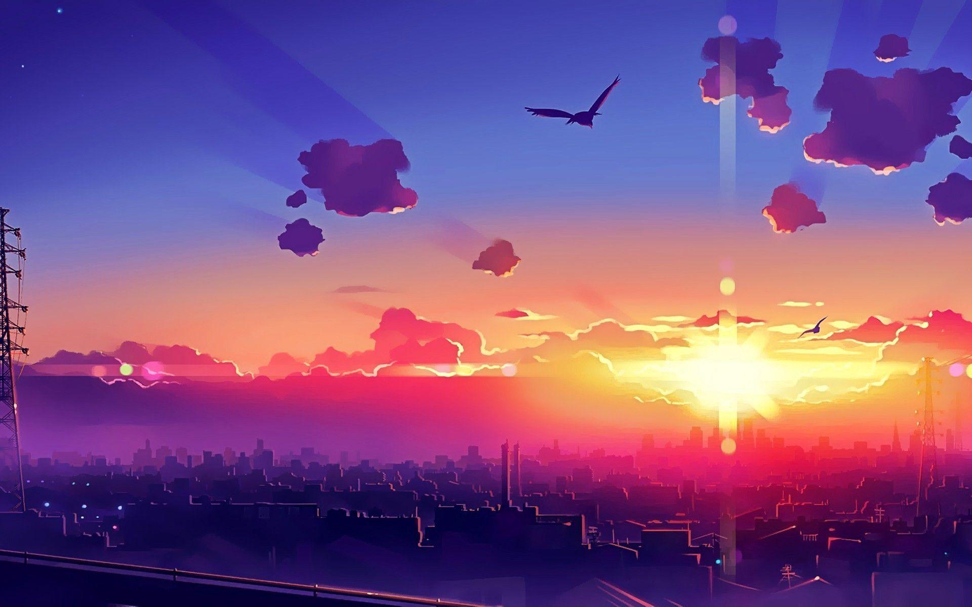 Anime Sunset _ Anime scenery, Anime scenery wallpaper