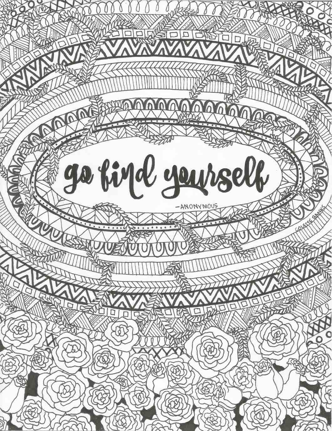 Go Find Yourself Quote Digital Print Adult Coloring Page