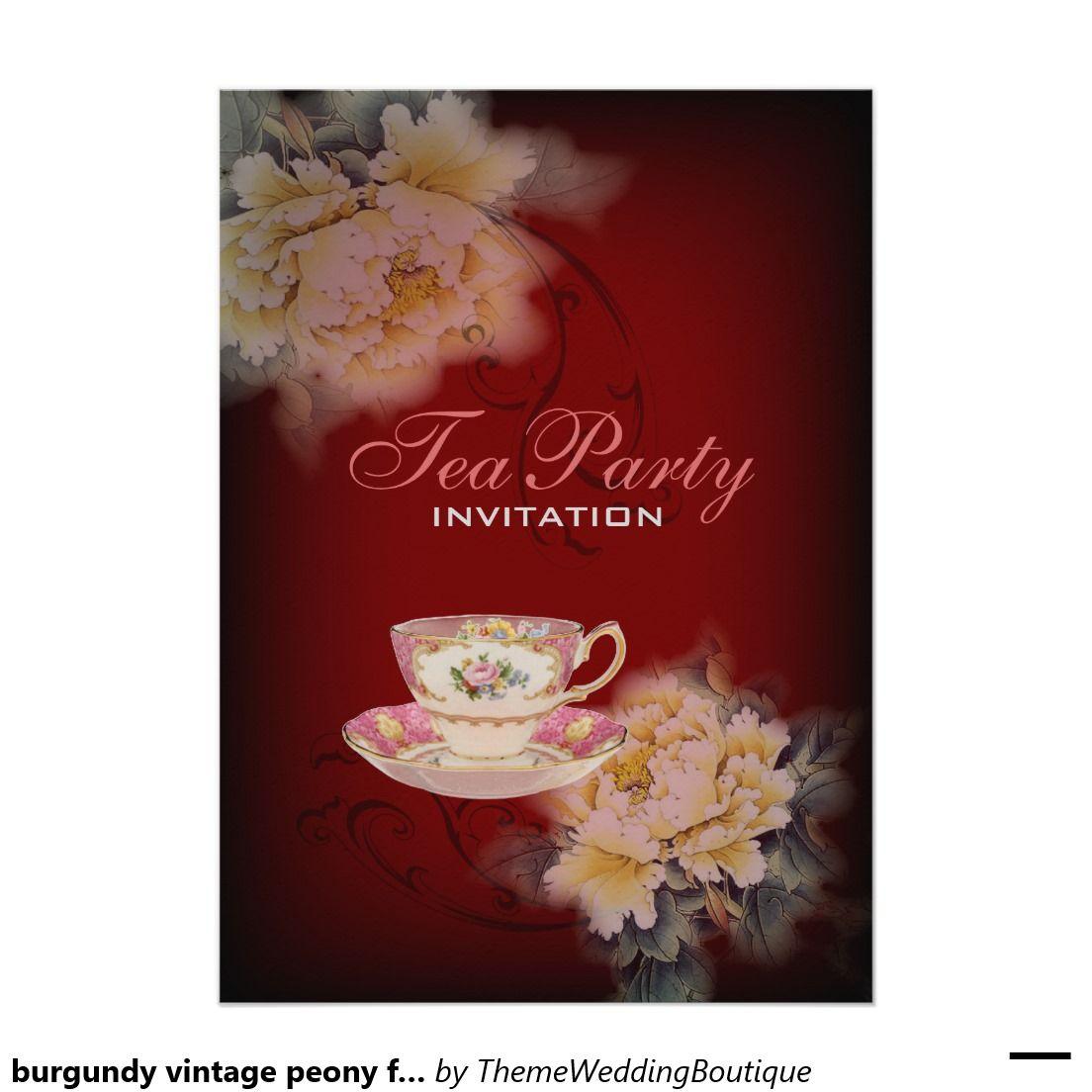 burgundy vintage peony floral Wedding tea party Card | Wedding tea ...