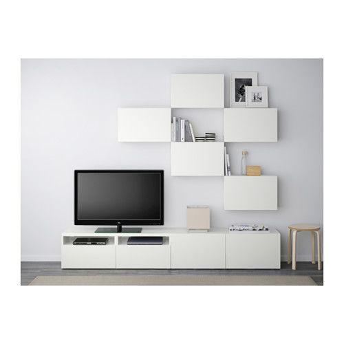Best agencement meuble t l lappviken blanc glissi re for Ikea meuble tele