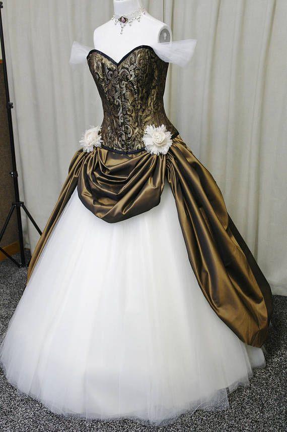 Steampunk wedding dress, Victorian wedding dress, Gothic wedding ...