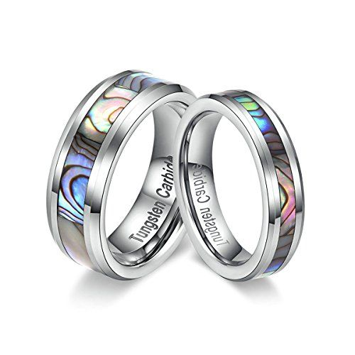 3dd1c11500e39e TIANYI Tungsten Couple Ring with Abalone Shell Inlay for Men Women Engagement  Wedding Rings