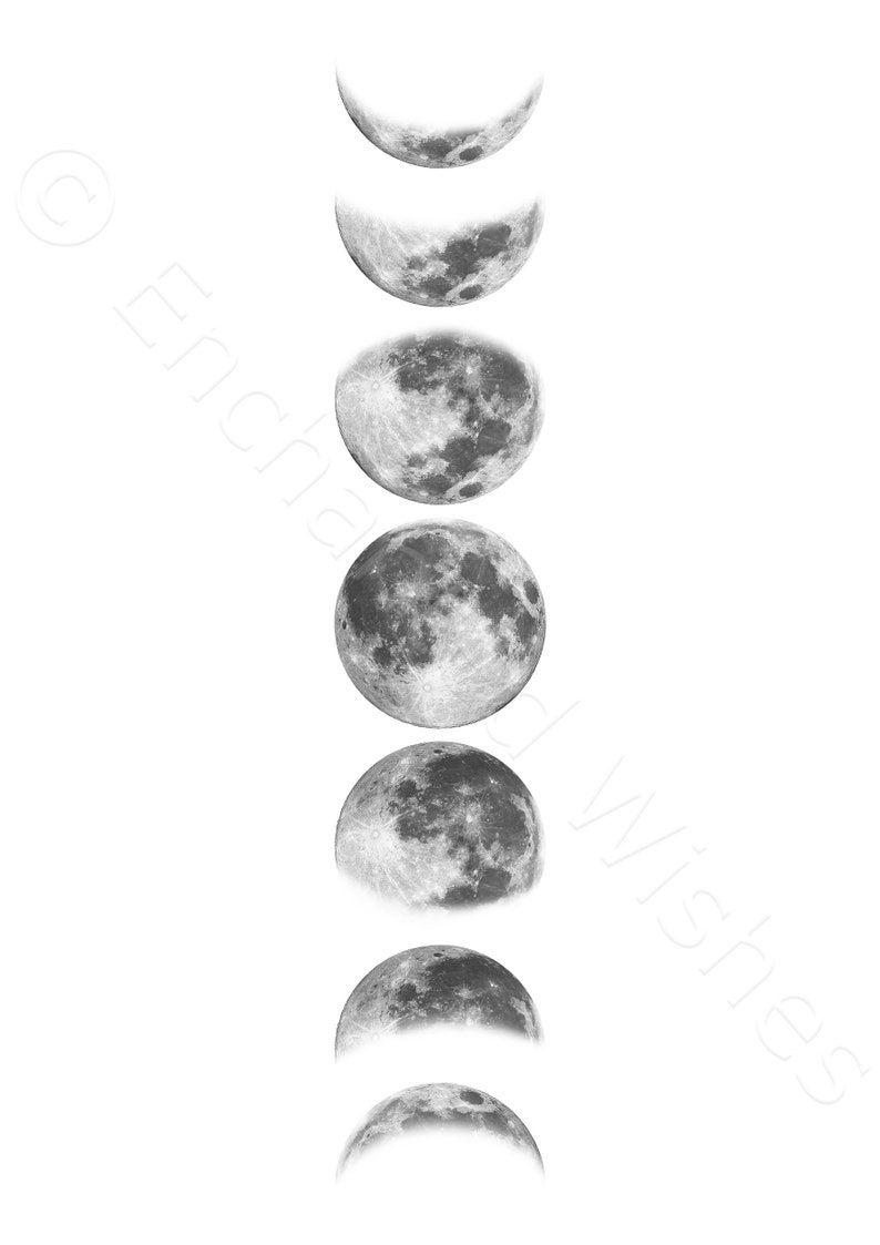 Black White Moon Phases Print Printable Digital Moon Poster Moon Phase Chart Modern Moon Phases Celestial Wall Art Minimalist Moon Moon Phases Tattoo Moon Cycle Tattoo Moon Phases Art