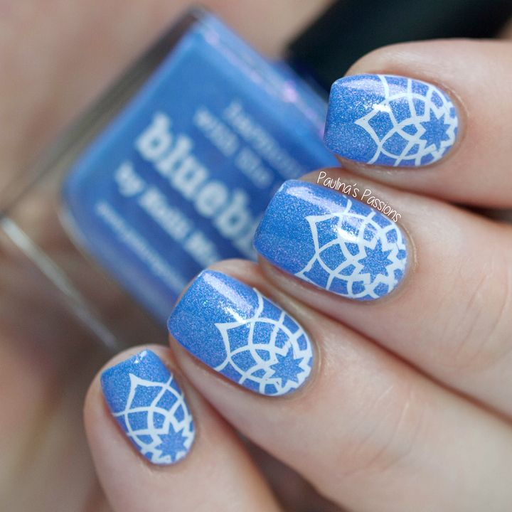 Picture Polish Bluebird stamping nail art ~ by Paulina's Passions