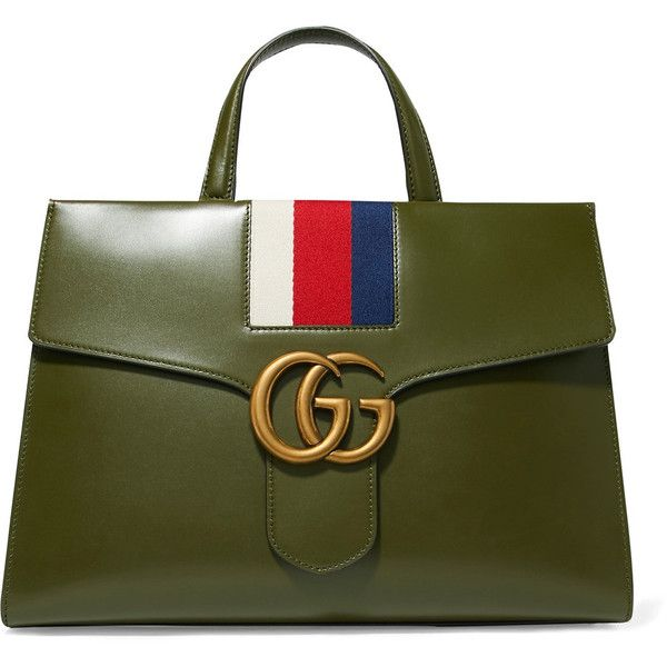 d79ca3d7b6 Gucci GG Marmont striped canvas-trimmed leather tote ( 3