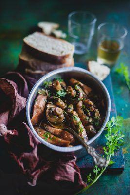 Mushroom And Sausage In Garlic Wine Sauce