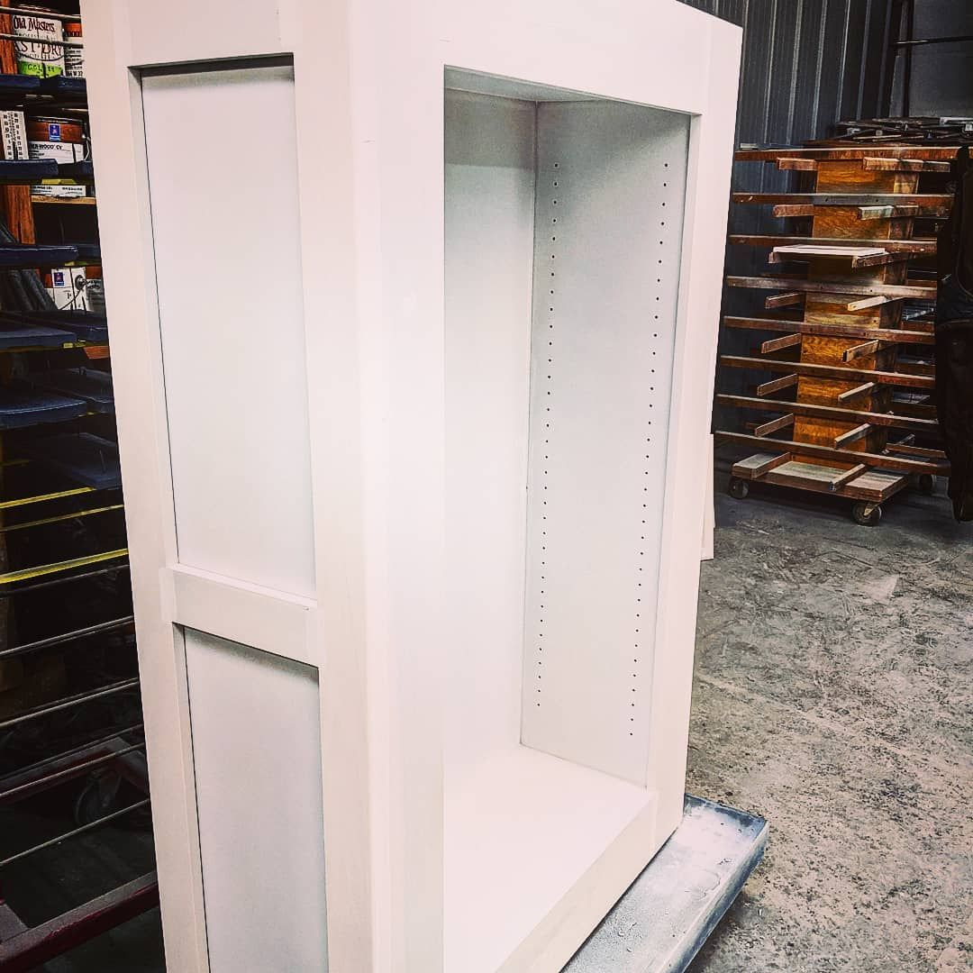 We Put Two To Three Coats Of Primer On Our Cabinets We Sand And Spackle Between Cabinetdesign Customcabinets Cust In 2020 Cabinet Design Cabinet Custom Cabinets