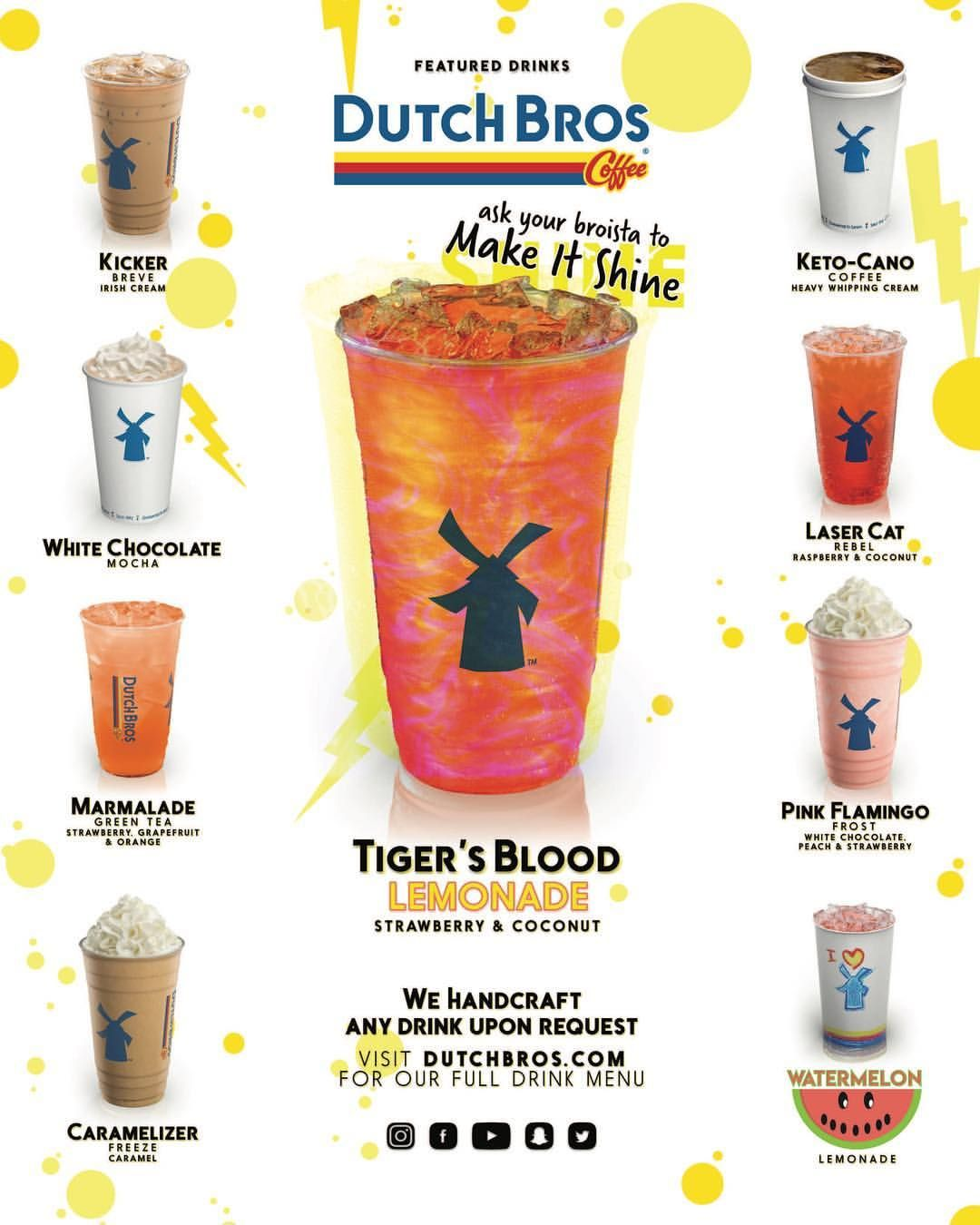 Summer is right around the corner, who is ready for it?! ☀️????????????Check out these tasty Featured Drinks!! #DutchBros #Coffee #Tea #Rebel… #dutchbros