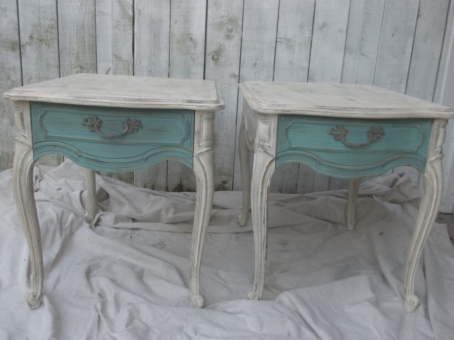 Shabby Chic End Tables Vintage Thomasville White Teal Distressed Rustic  Cottage Chic Square Tables Victorian Decor