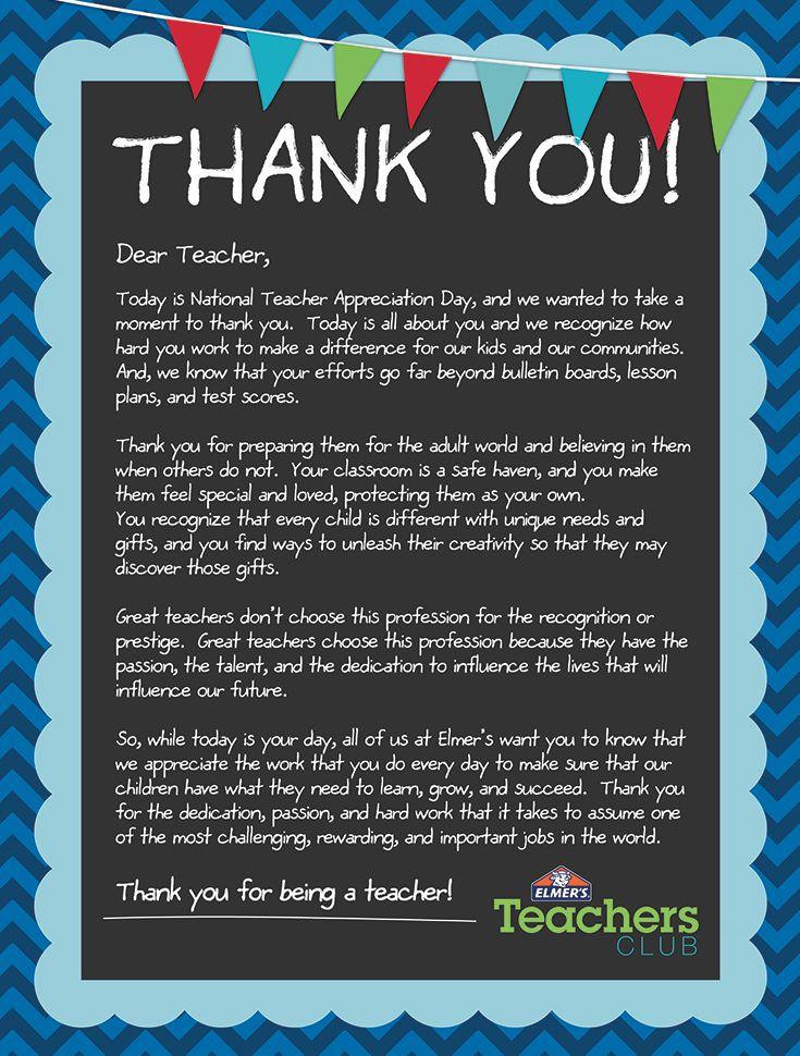 Teacher Appreciation Thank You! from the Elmer
