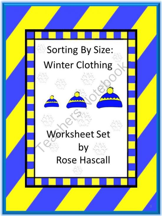 sorting by size winter clothing worksheet set from smalltowngiggles on. Black Bedroom Furniture Sets. Home Design Ideas