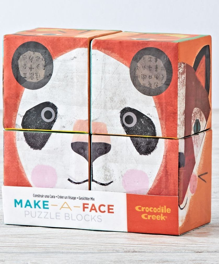 These four heavy-duty cardboard blocks are great for creative play. Create six different animal faces by putting four beautifully illustrated blocks together. Or, let little hands create their own animal faces.