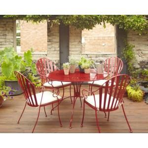 Hampton Bay Shelburne Red 5 Piece Metal Patio Dining Set With White  Cushions ZS0131078
