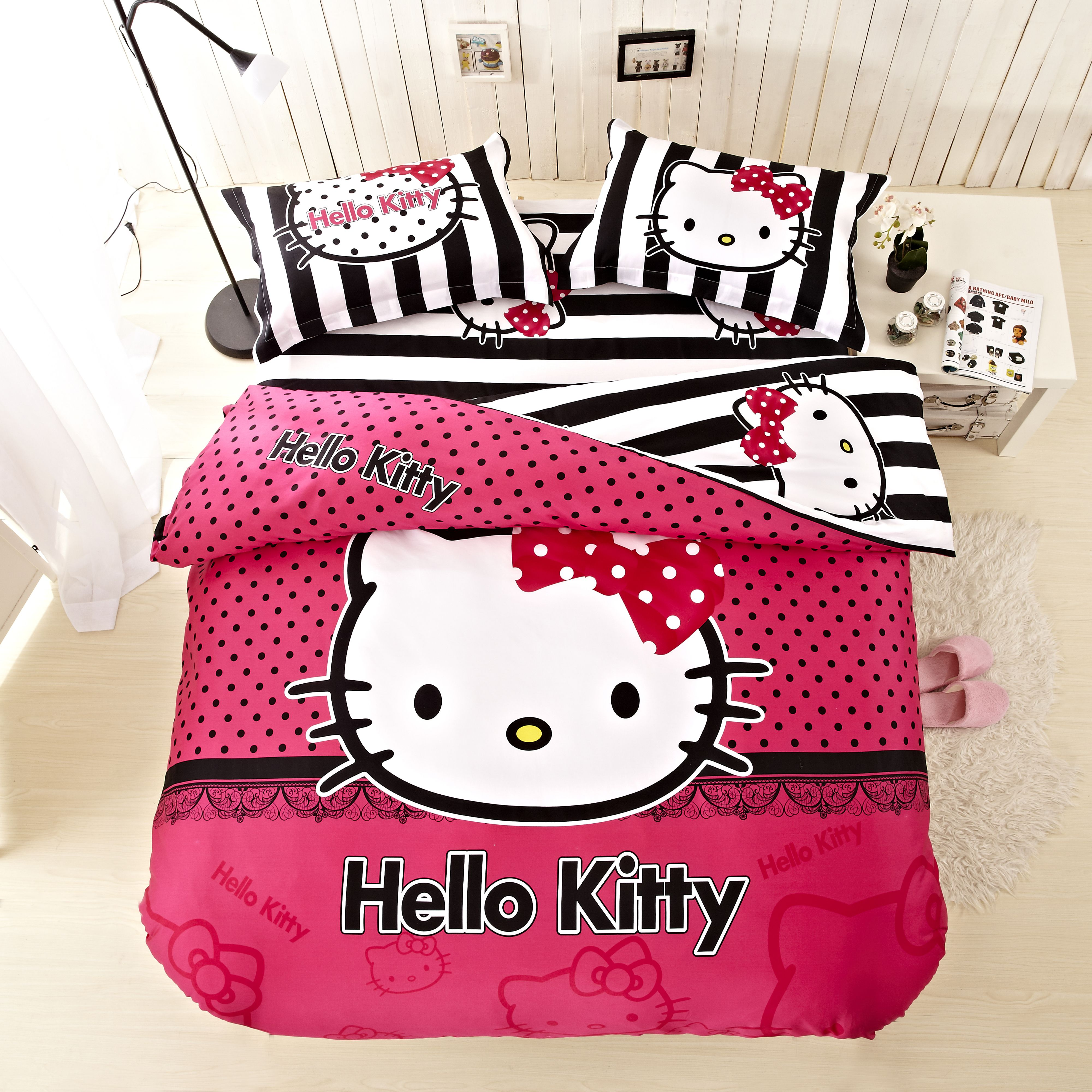 New Arrival Hello Kitty Bed Set Pink And Black Bedding Bed Sets For Girls  Twin Queeen