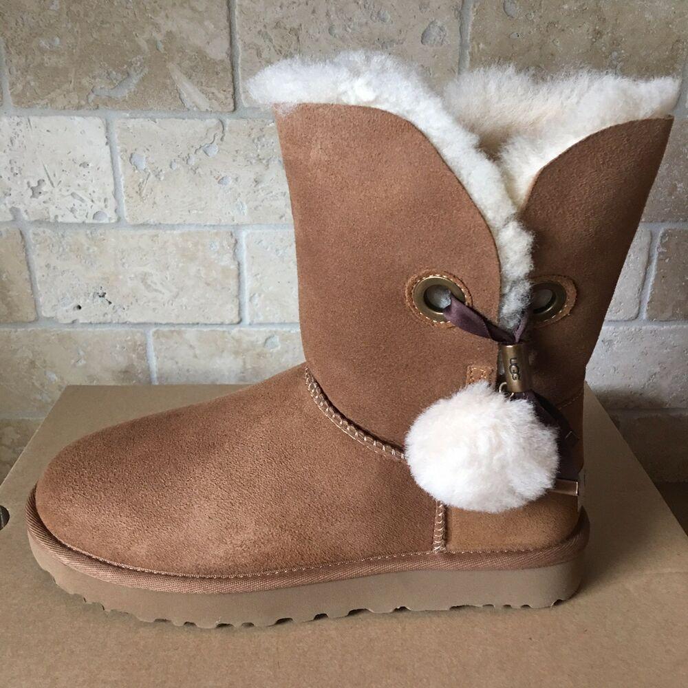 d517decd028 eBay Advertisement) UGG Irina Star Charm Pom Pom Chestnut Sheepskin ...