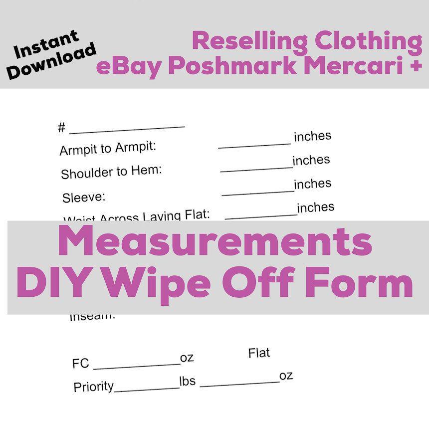 Poshmark Seller Printable eBay Online Reseller Clothing