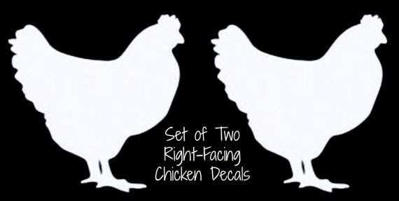 "Set of 2 CHICKEN Hen White Vinyl Car Window Sticker Decal Farm Fresh Eggs Daily 2"" Right Facing"