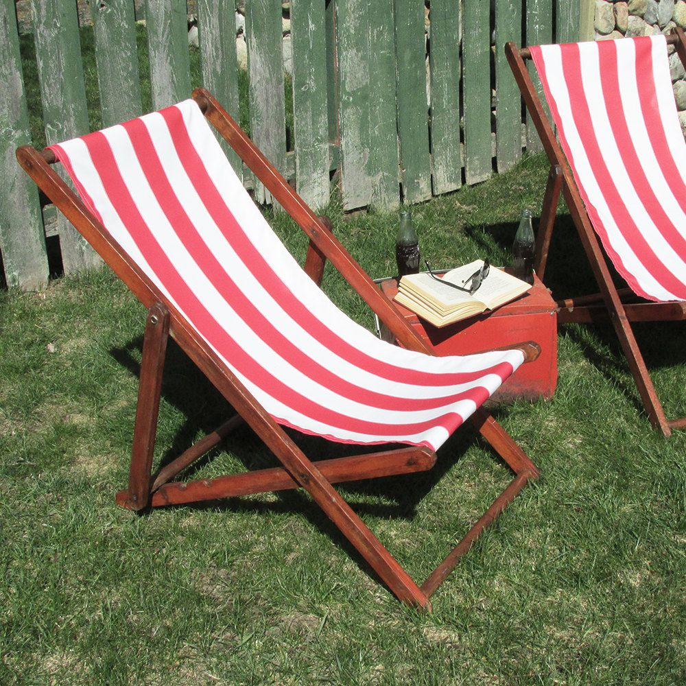 Beach sling chair - 1930s 40s Sling Back Deck Chair Lawn Chair Beach Chair By Leapinglemming On