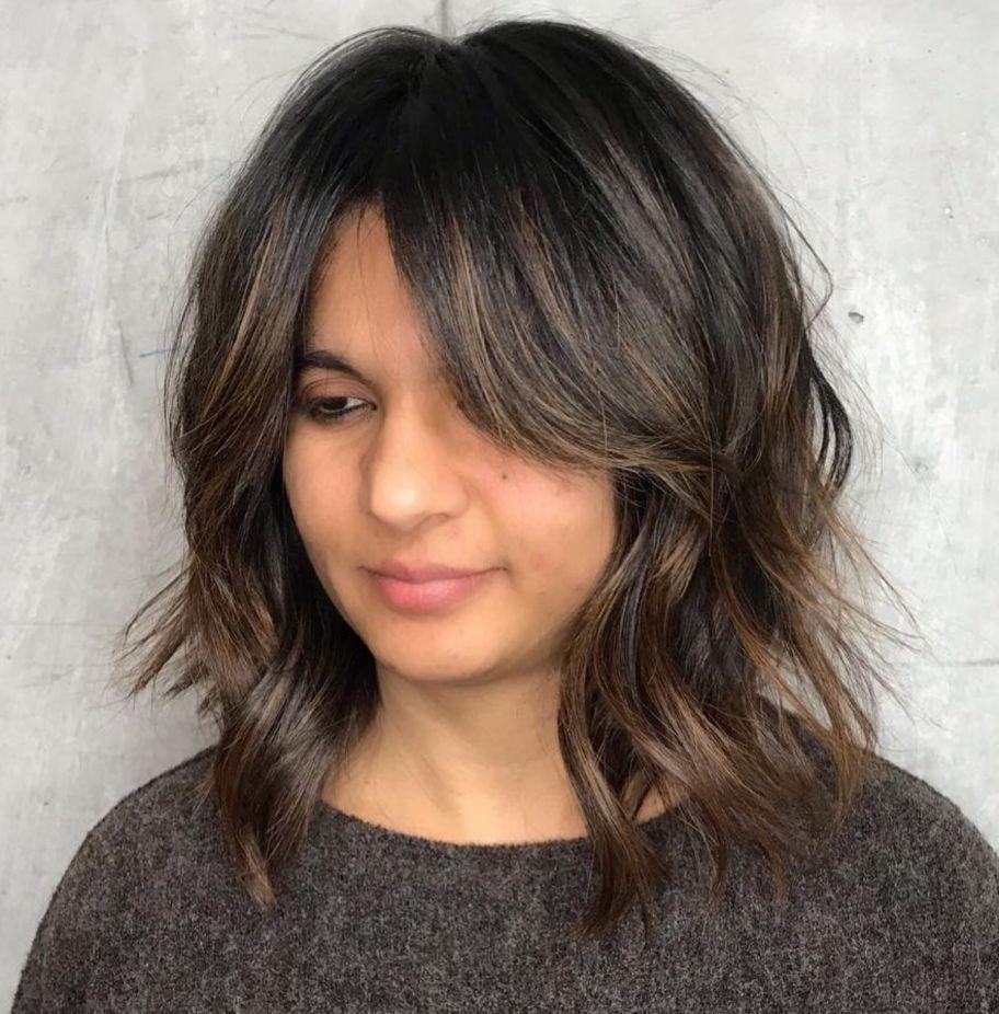 29+ Round face chubby face medium hair with bangs ideas