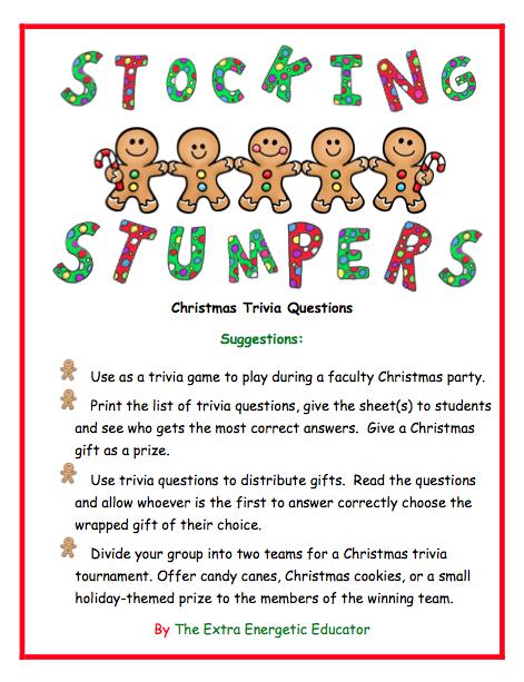 Stocking Stumpers Christmas Trivia Game Christmas trivia