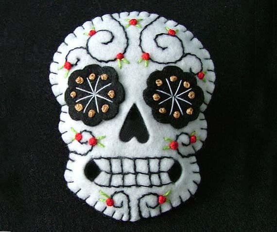 Sugar Skull Tattoo Felt Brooch by TheDollCityRocker on Etsy, $9.50
