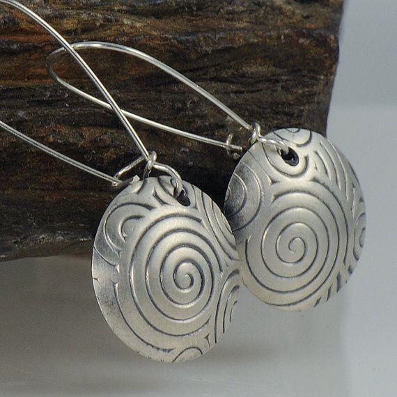 Eco Friendly Sterling Silver Swirls Long Wire Earrings