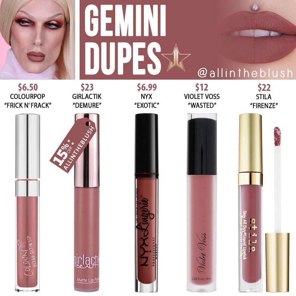 Jeffree Star Gemini Velour Liquid Lipstick Dupes – All In The Blush