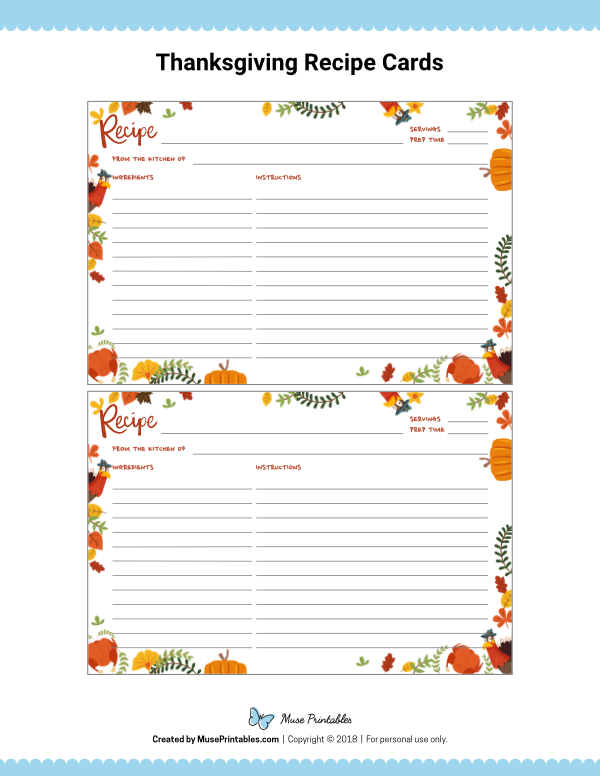 Free Printable Thanksgiving Recipe Cards The Cards Are Editable In Adobe Reader Download Them Recipe Cards Recipe Cards Printable Free Recipe Cards Template