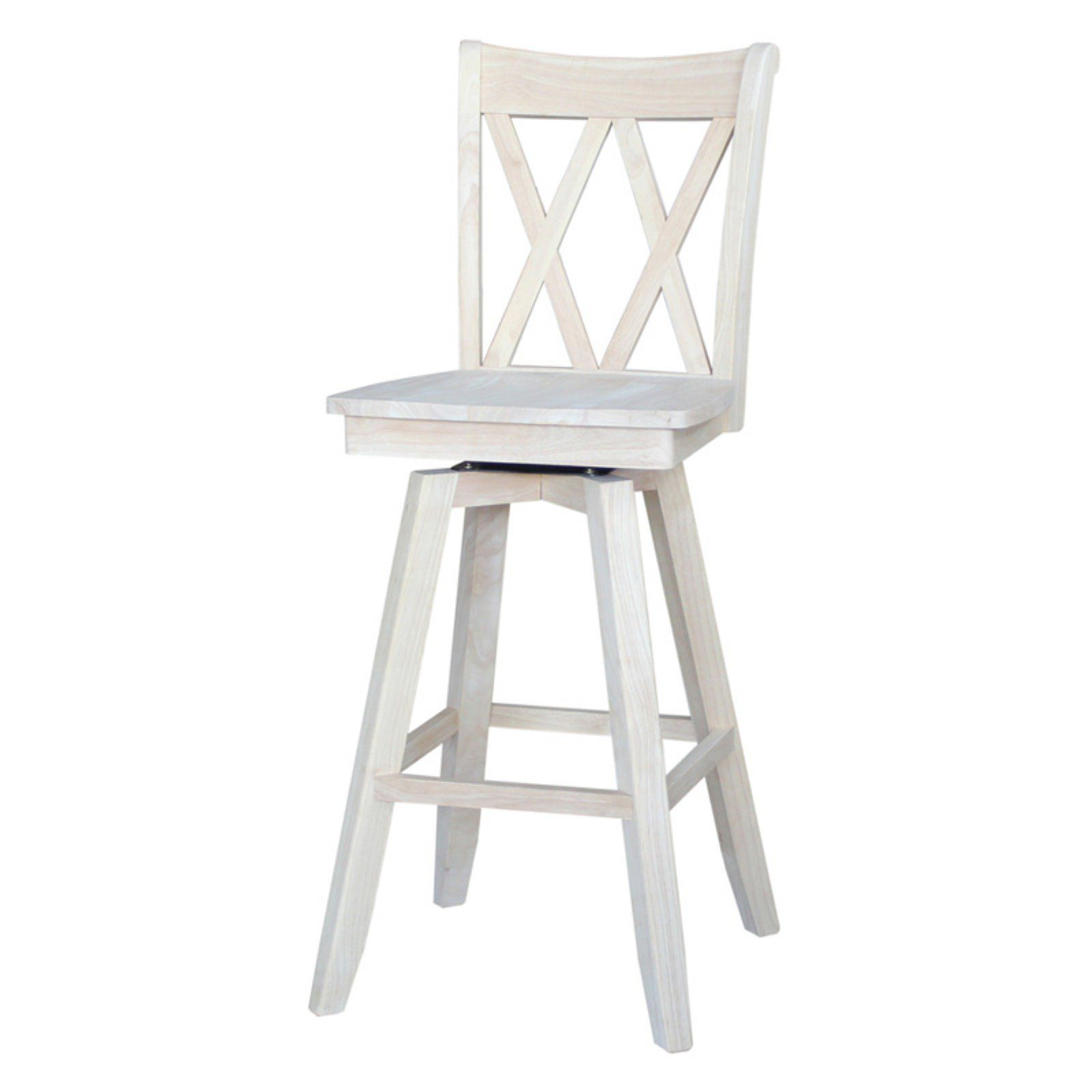 Enjoyable International Concepts Double X Back Swivel Bar Stool In Ibusinesslaw Wood Chair Design Ideas Ibusinesslaworg