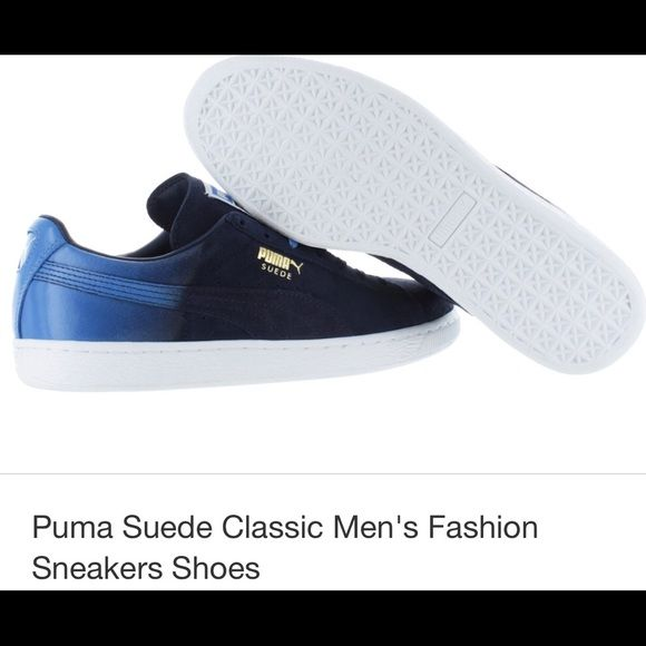 Puma sneakers The Puma Suede Classic + shoe is the perfect balance between a casual shoe that can dressed up with the sleek feel of a classic sneaker. The shoe features a low top style with lace up closure, suede upper with Puma signature stripe detail along side and tongue, Puma logo prints on tongue, heel and side, comes with two sets of laces to change up the look! Puma Shoes Sneakers