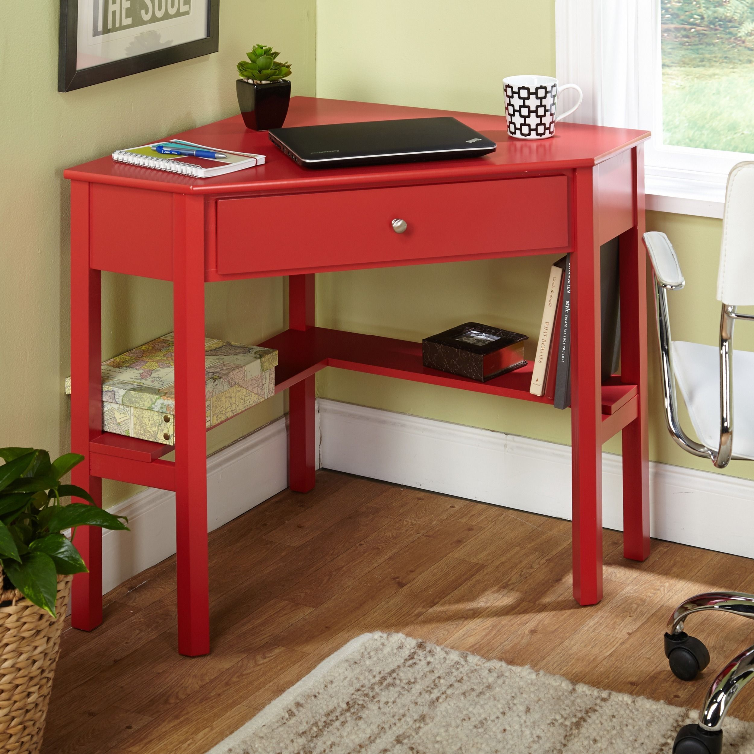 Maximize the space in your home or office with this clever wood corner desk. The fine red finish and chrome knob create a simple yet stylish way of staying ... & Maximize the space in your home or office with this clever wood ...