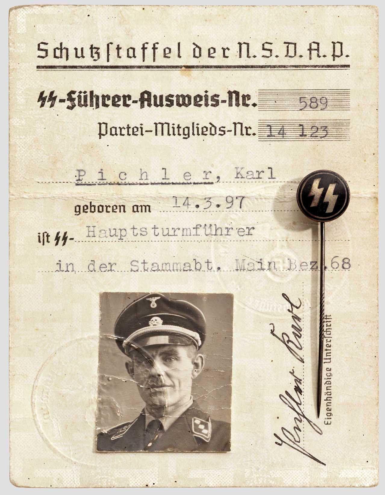Ausweis- SS Hauptsturmfuhrer Karl Pichlet | WW II identification ...