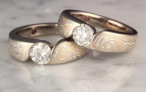 Mokume Wave Engagement Rings Mokume Gane jewelry Pinterest