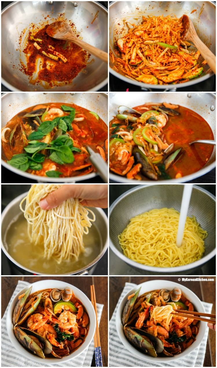 Homemade Korean spicy seafood noodle soup (Jjamppong) - A popular Korean Chinese noodle dish. It's refreshing and is loaded with generous amount of seafood! | MyKoreanKitchen.com