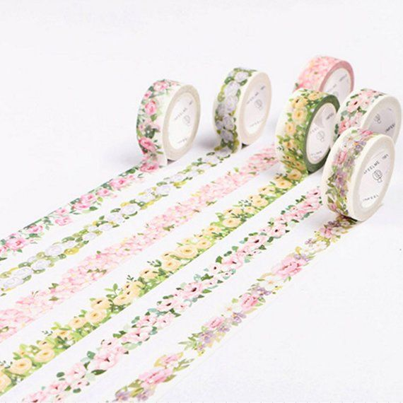 Plants washi Decorative masking tape Pink washi tape Washi tape with pink flowers
