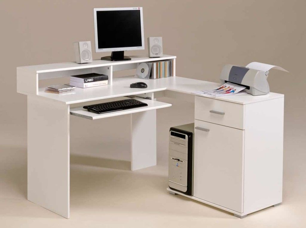 White Modern Small Corner Computer Desk With Storage Drawer And Muebles Para Pc Escritorios De Oficina En Casa Escritorios Blancos