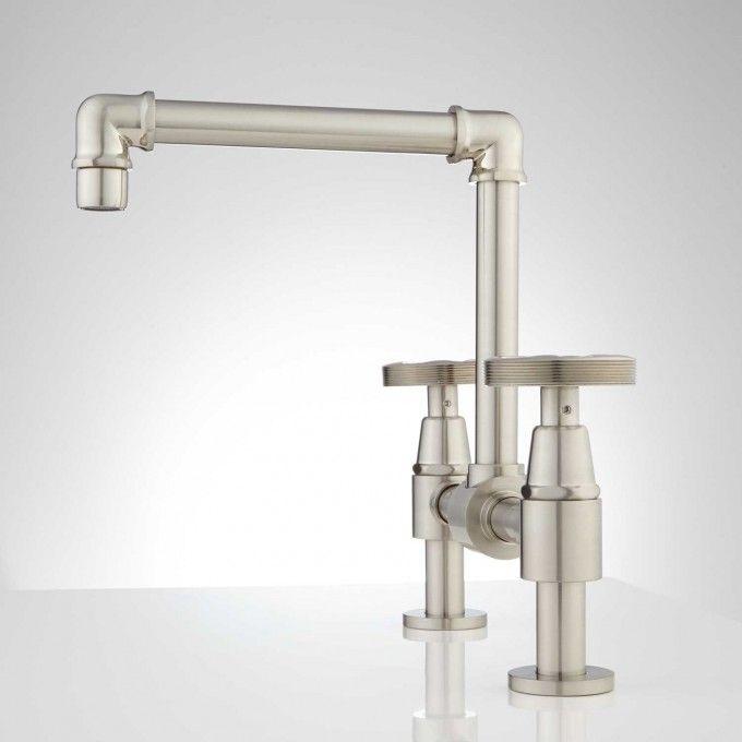 Edison Bridge Bathroom Faucet with Pop-Up Drain | Faucet