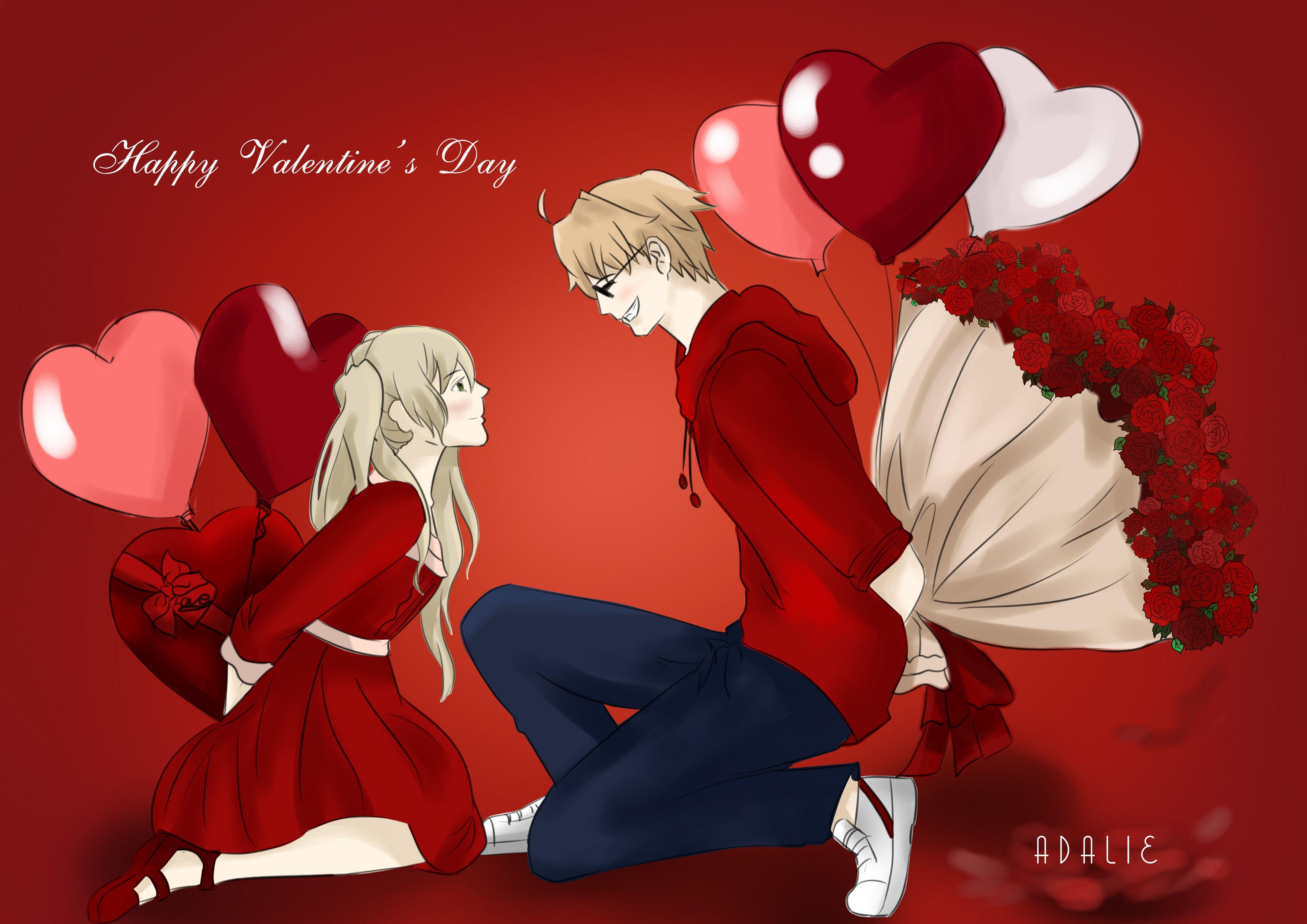 Happy Valentine S Day Us X Nyo Uk Usuk Hetalia Fanart Happy Valentines Day Happy Valentine