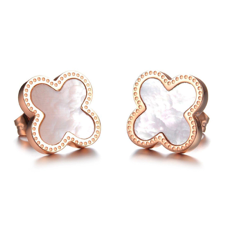 Rose Gold Clover Stud Earrings