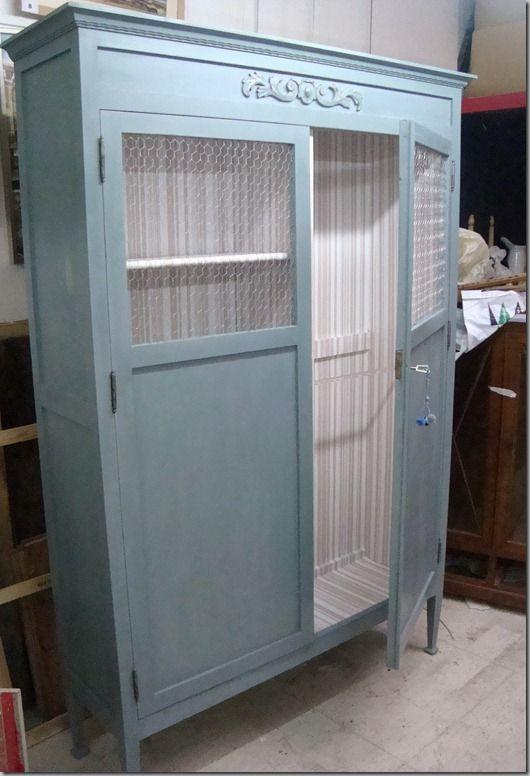 C mo decorar un armario con rejilla o tela de gallinero - Armarios antiguos restaurados ...