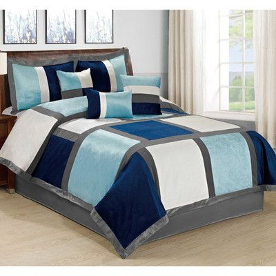 Homechoice International Group Spencer 7 Piece Comforter Set Size: Queen,  Color: Blue