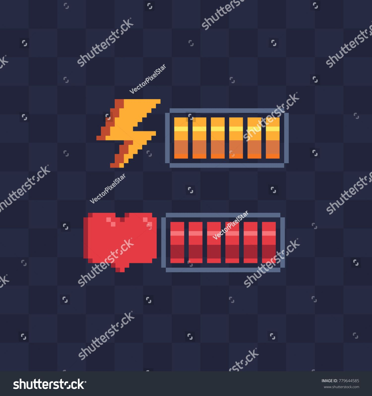 Pixel Art Style Battery Charge Full Health Bar Video Game 8 Bit