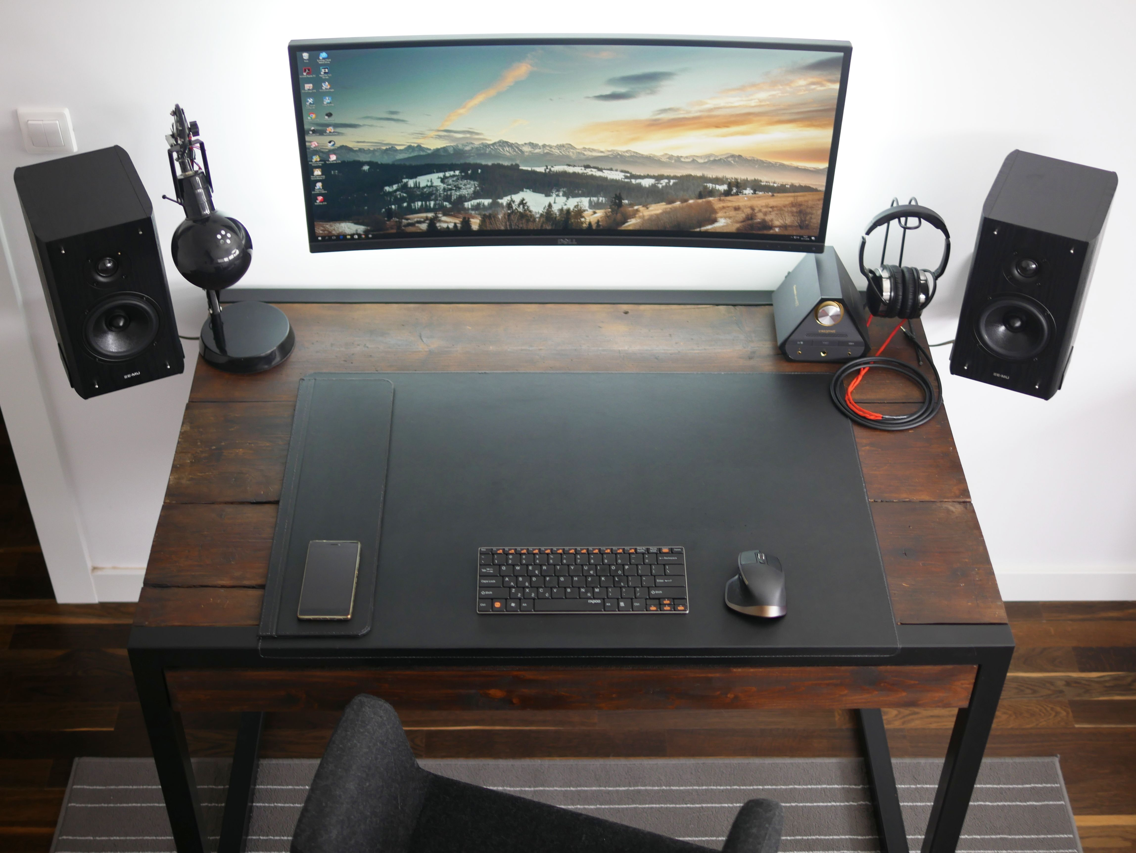 The Minimal Floating Monitor Workspace Computer Desk Setup Work