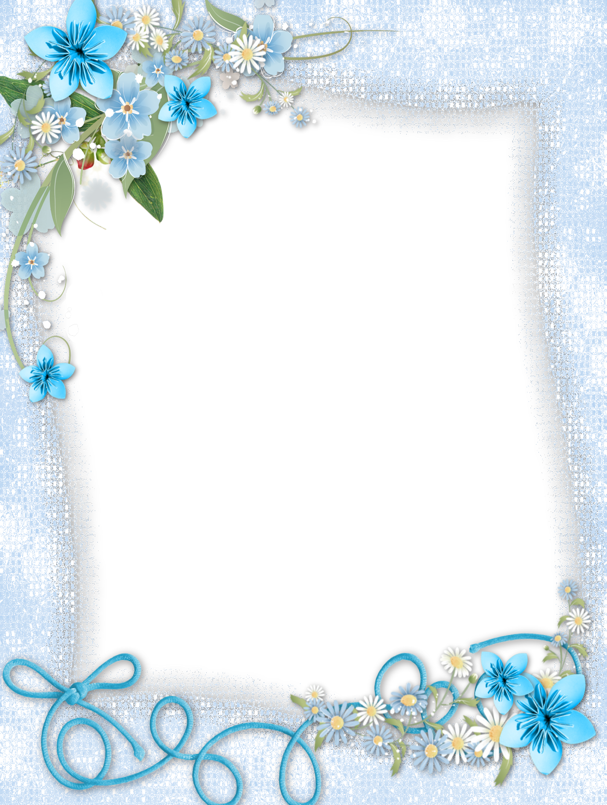 Transparent Blue PNG Frame with Flowers (With images