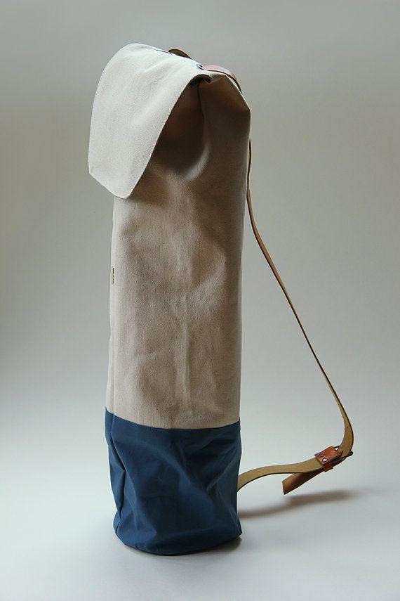 Items Similar To Yoga Bag Waxed Cotton With Leather Strap Blue On Etsy Yoga Mat Bag Yoga Bag Yoga Mat Bag Pattern