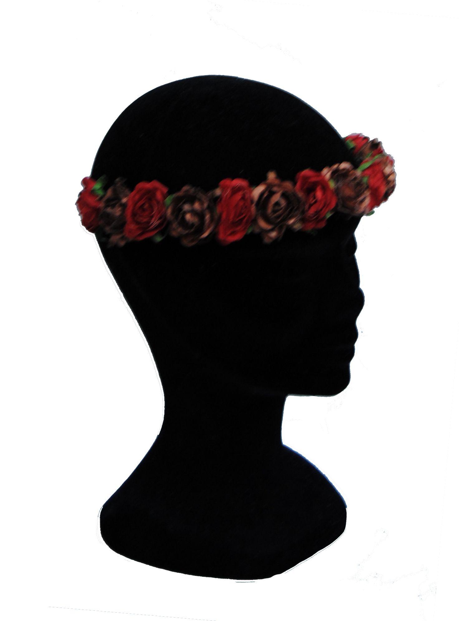Corona de flores en color rojo y bonce