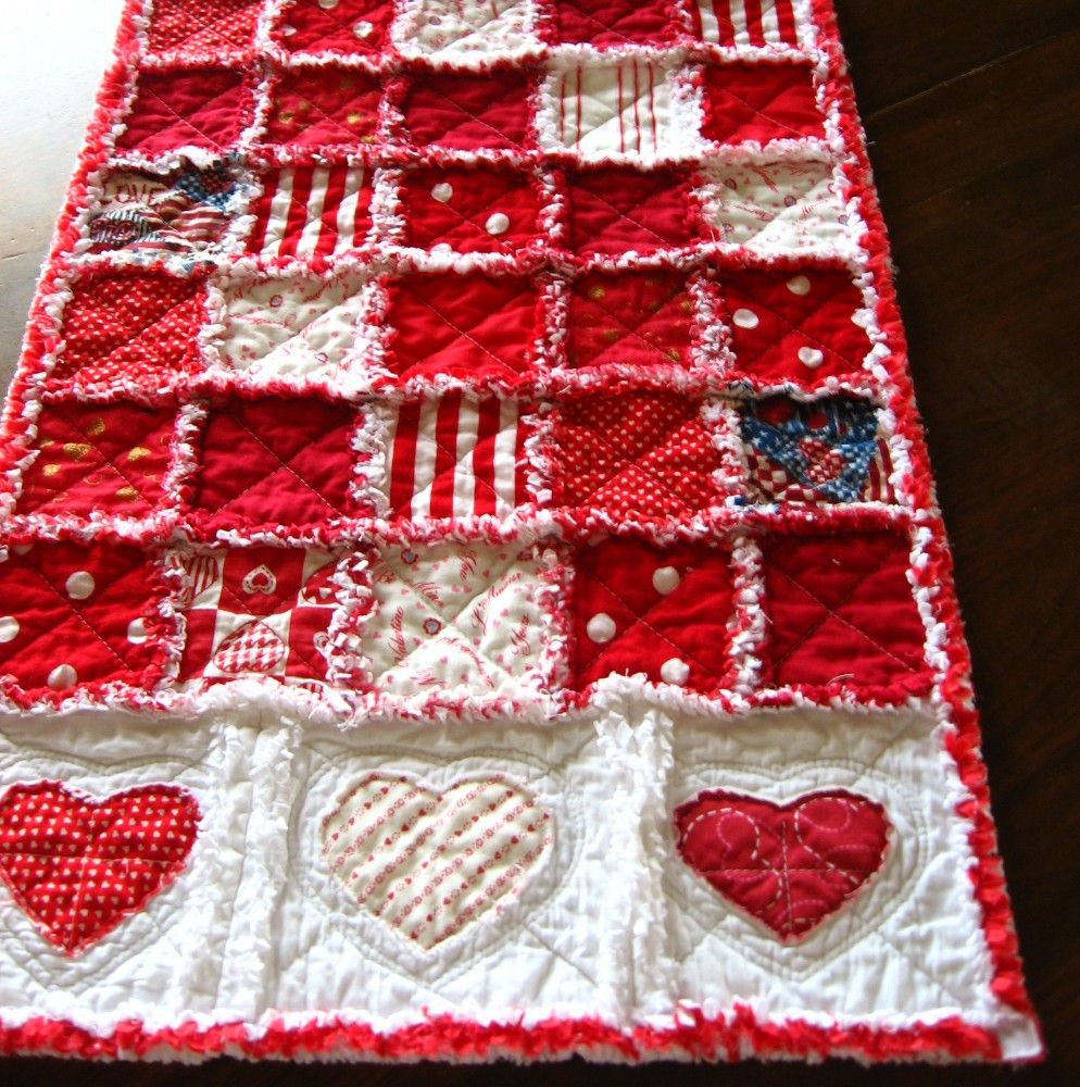 Beautiful Valentine table runner with a touch of country flair ~