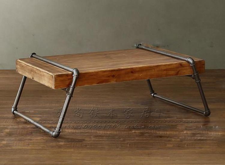 Grenenhouten Side Table.Amerikaans Grenen Houten Theetafel Ijzeren Buizen Boutique