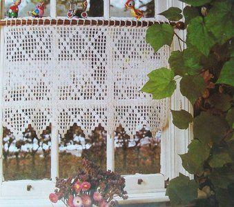 haakpatroon gordijn met ruitmotief gehaakte gordijnen haaknaalden filet crochet raambekleding tafellopers